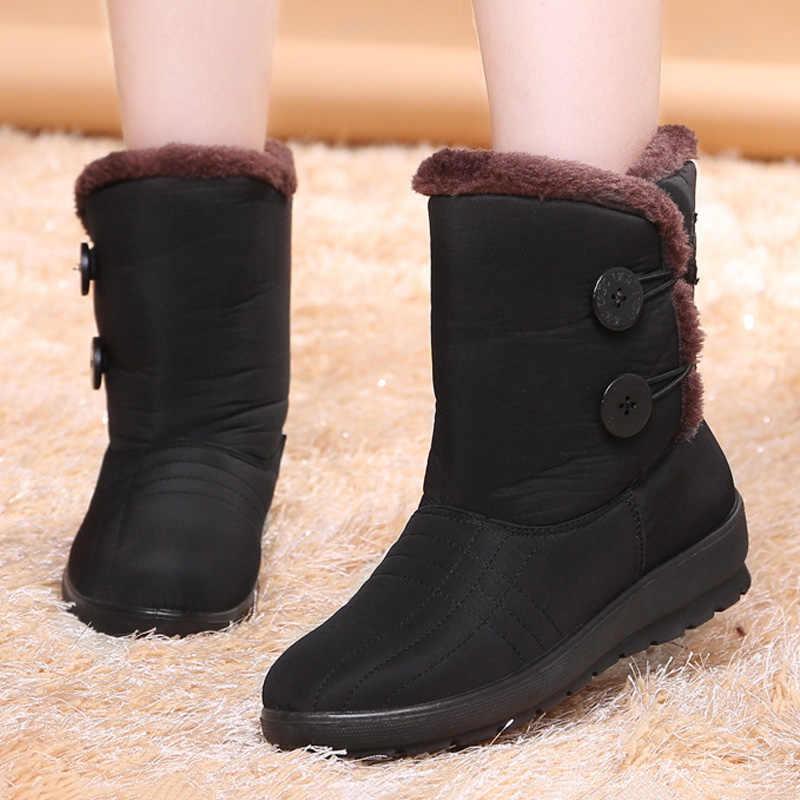 Kaymaz Kar Botları 2019 Yeni Kadın Çizmeler Peluş Sıcak yarım çizmeler Kadınlar Için Kış Botları Su Geçirmez anne ayakkabısı Kadın Patik