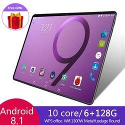El último 10 pulgadas Tablet 6G + 128G sistema Android 8,1 HD 4G Wifi Tablet tarjeta SIM Dual cámara trasera 1300w Bluetooth Tablet