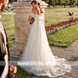Image 2 - Романтическое свадебное платье с фатиновой аппликацией; Роскошная юбка; PZ20; Милое кружевное ТРАПЕЦИЕВИДНОЕ платье принцессы с открытыми плечами; Свадебное платье; Vestido de novia