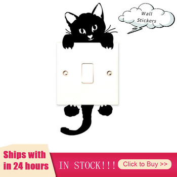 1Pc DIY Cute Sleeping Cat Switch Stickers Wall Stickers Decal Home Decoration Bedroom Living Room Parlor Decoration For Kid image