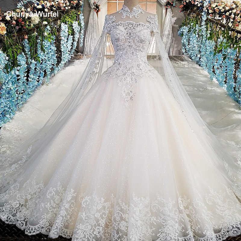 LS00169 платье люксроскошные свадебные платья с вышивкой из бисера бальное платье с коротким рукавом с высоким вырезом кружево с белым принцессой реальные фото