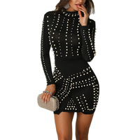 Female Fall Clothes For Women 2019 Sexy Formal Dress Elegant Autumn Long Sleeve Dress Mini Sparkling Pearl Tight Dresses Frocks