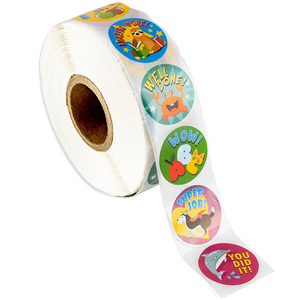 Image 2 - 500 szt. Naklejki dla dzieci rolka naklejek dla dzieci motywacyjne okrągłe naklejki z słodkie zwierzaki na powrót do szkoły