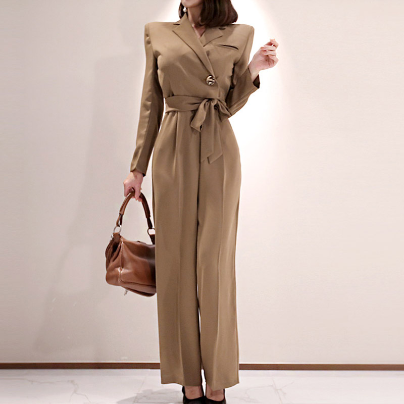 OL Elegant Wide Leg Lace Up Jumpsuits Women Autumn Solid Color Rompers Belted Waist Office Wear Playsuits