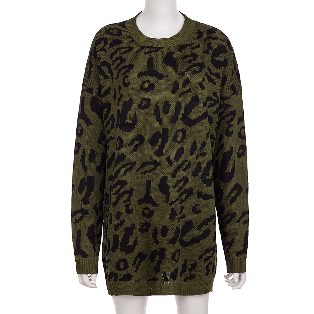 Dilusoo Leopard Print Winter Knitted Sweater Women O-neck Long Sleeve Loose Sweaters Female 19 Casual Autumn Overalls Sweaters 24