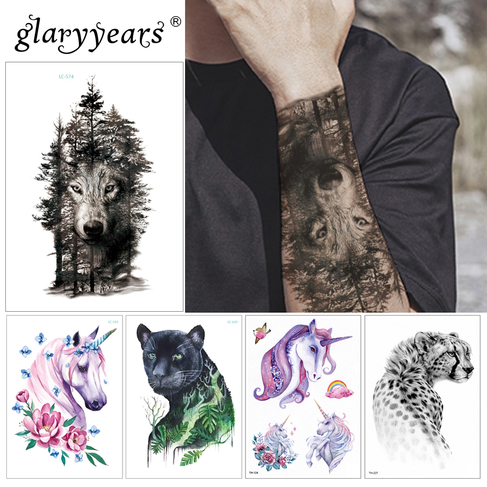 Glaryyears 15*21cm Temporary Tattoo Sticker Hot Fake Tatoo Animals And Plants Flash Tatto Waterproof Small Body Art Men Women