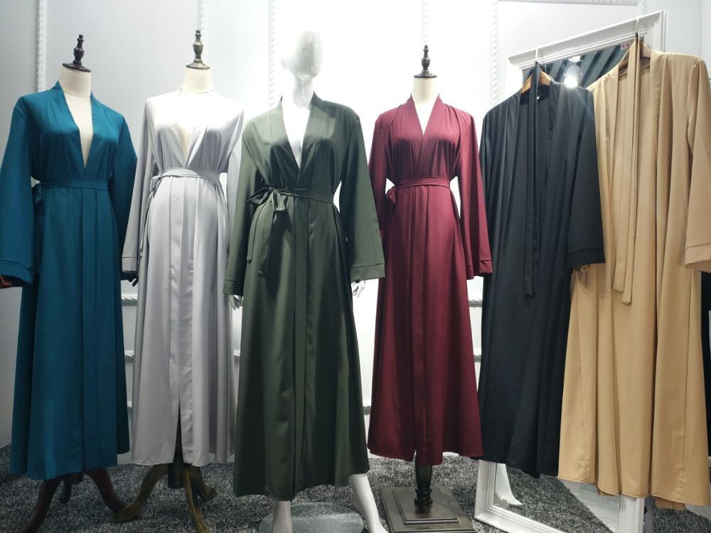 Dubai Robe Burst Solid Color Cardigan Dress