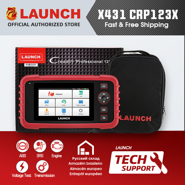 LAUNCH X431 CRP123X CRP123 X Auto Code Reader OBD2 Scanner OBDII Diagnostic Tool ENG AT ABS SRS Launch Scanner Automotive Tool
