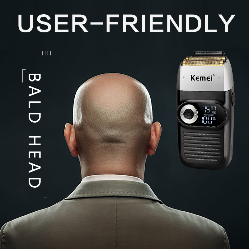 Kemei Rechargeable Electric Shaver LCD Display Portable Waterproof Reciprocating Cordless Men Reciprocating Razor Beard Trimmer 5
