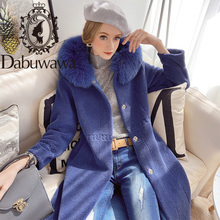 Faux-Fur-Coat Overcoat Dabuwawa Women Long-Sleeve Winter Ladies Real Warm Soft DT1DFR030
