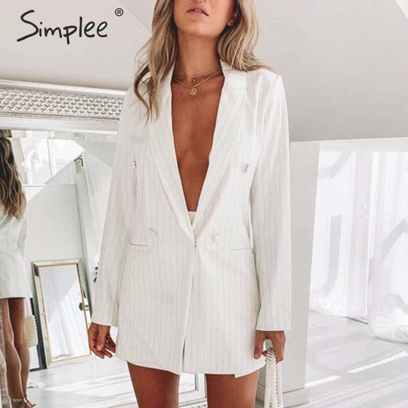 Simplee Fashion Striped Women Blazer Coat Elegant Buttons Autumn Winter Female Blazers Pockets Office Ladies White Blazers Coats
