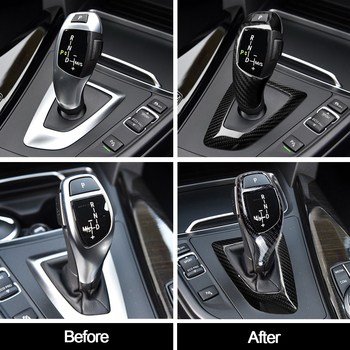 carbon fiber gear head knob trim gear shift collars covers for bmw 1 2 3 4 5 series 320 f20 f22 f30 f32 f10 interior accessories Car Styling True Carbon Fiber Gear Shift Handle Sleeve Button Cover Stickers Trim For BMW 3 4 Series F30 F32 F33 F34 F35 F36