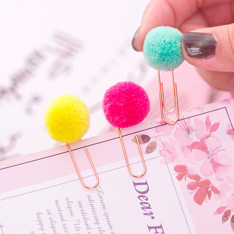 6Pcs/lot Cute Colored Hair Ball Paper Clip Metal Bookmark Home Decoration Gift Stationery School Office Supply