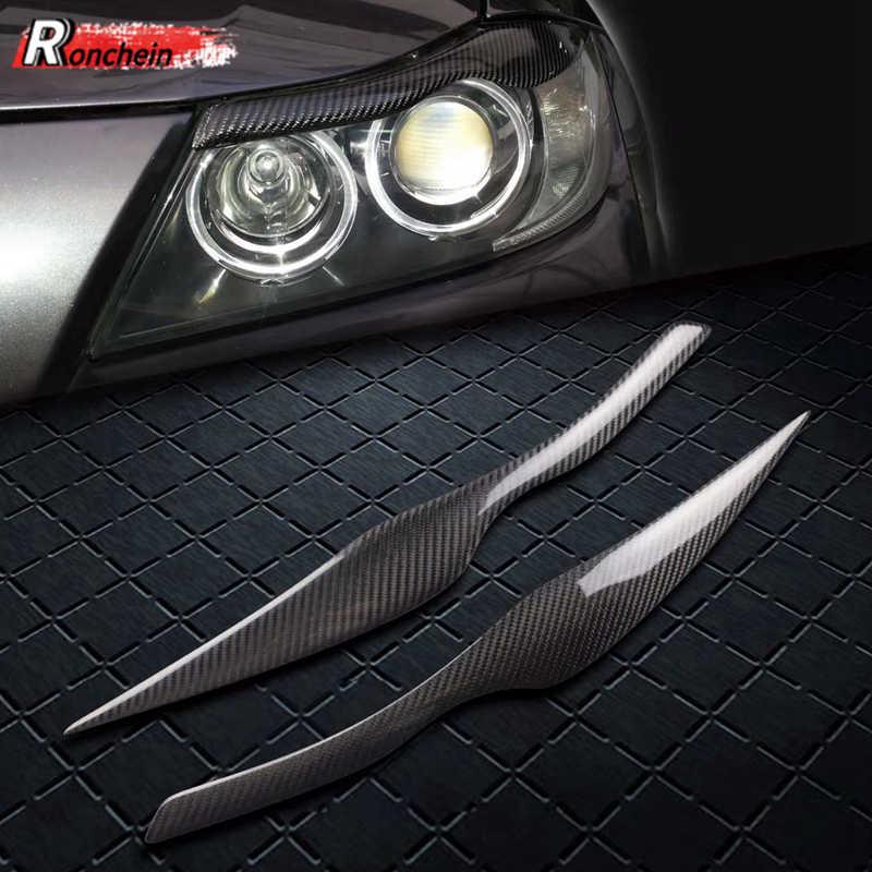 Ronchein Đèn Pha Ô Tô Lông Mày Sợi Carbon Đèn Pha Led Mí Mắt Miếng Dán Cho Xe BMW 3 Series E90 E91 2006-2012 Bao Phụ Kiện