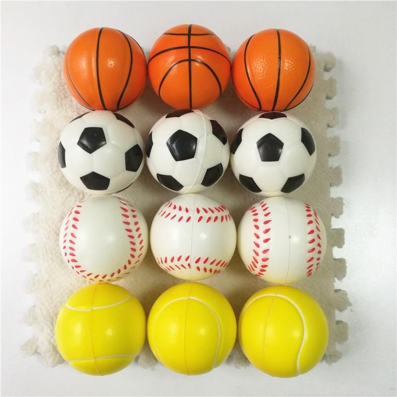 6pcs 6.3cm Squeeze Ball Toy Football Basketball Soft Foam Sponge Anti stress Baseball Tennis Toys for Kids Children