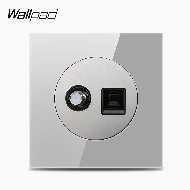 Wallpad L6 Grey Glass Satellite TV FM Antenna & Internet Computer Data RJ45 CAT6 Jack Wall Socket Wiring Outlet
