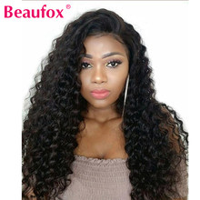 Beaufox Indian Deep Wave Lace Front Human Hair Wigs For Black Women 360 Lace Frontal Wigs Pre Plucked With Baby Hair Remy Wigs(China)
