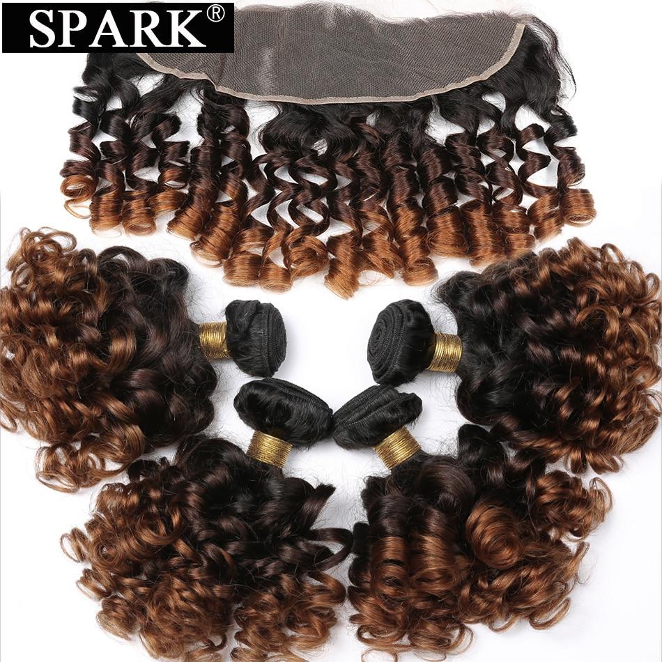 Spark brazylijski skoczny kręcone ludzkie włosy 1B/4/30 z 13x4 koronka Frontal zamknięcie z 3/4 wiązki włosów z zamknięciem w 3/4 pasma z siateczką od Przedłużanie włosów i peruki na AliExpress - 11.11_Double 11Singles' Day 1