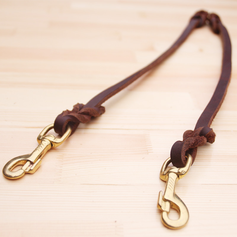 Cowhide Double Stretch Double Dog Genuine Leather Dog Chain First Layer Hand Holding Rope Golden Retriever Double Drawstring Pet