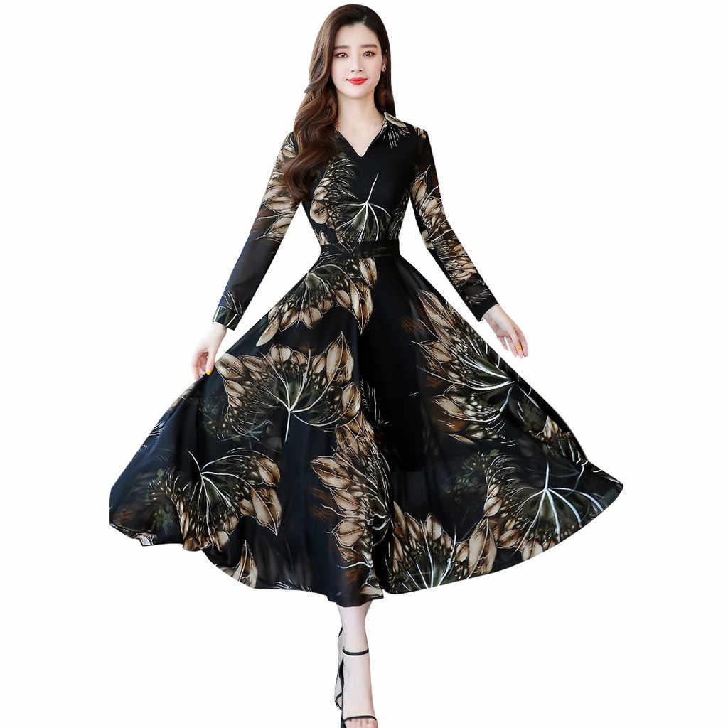 แฟชั่นผู้หญิงยาว Maxi ชุด V คอยาวแขนยาวสุภาพสตรีพิมพ์ลายดอกไม้พิมพ์ A-Line ชุดสตรีชุดใหม่ 2019
