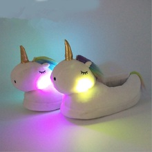 Winter Slippers Kids Cute Plush Unicorn Slippers Boys Girls Non slip Warm Interior Slippers Kids Baby Barefoot Shoes Luminous
