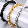 Теннисные браслеты с кубическим цирконием, золотой, серебряный цвет, цепочка, Кристальный браслет для унисекс, модные ювелирные изделия, по...