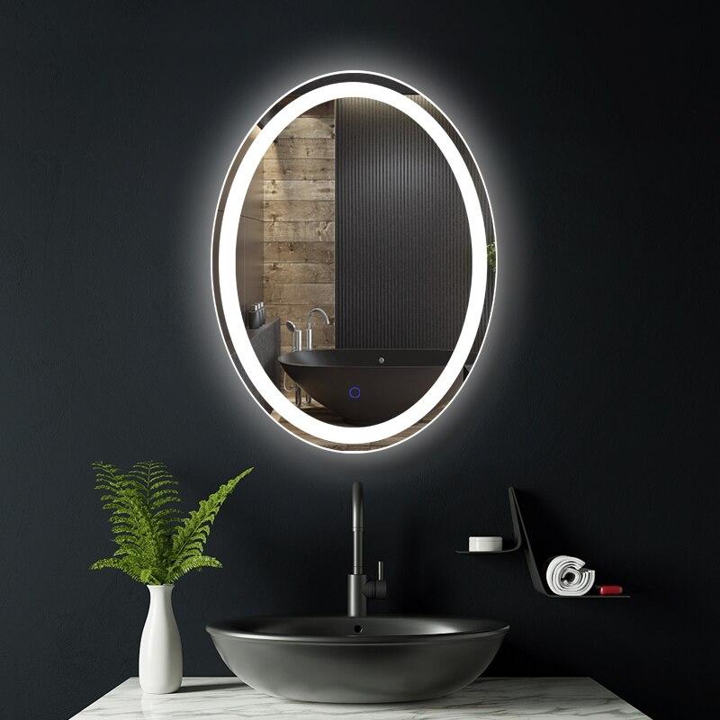 Wholesale Classic Design Metal Frame Oval Shape Led Lighted Bathroom Sliver Mirror