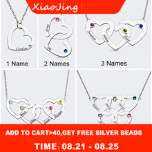 New 925 Silver personalized Family Necklace Custom Engraved Name Intertwined Hearts Birthstone Pendant Necklaces free shipping personalized necklaces 925 sterling silver engraved necklaces diy personalized jewelry family children mother pendants necklace