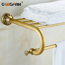 free shipping Copper towel classical bathroom accessories double layer towel rack antique brass wall mounted towel rack free shipping copper towel racks double towel bar wall hanger bathroom accessories towel rails chrome cobbe t79282 60 70 80