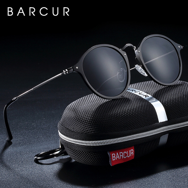 BARCUR Aluminum Magnesium Vintage Sunglasses For Men Polarized Round Sun Glasses Women Retro Eyewear Oculos Masculino 1