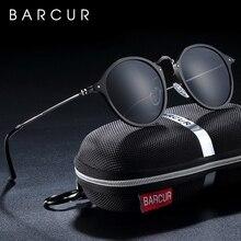 BARCUR الألومنيوم المغنيسيوم Vintage النظارات الشمسية للرجال الاستقطاب نظارات شمسية مستديرة النساء الرجعية النظارات Oculos Masculino