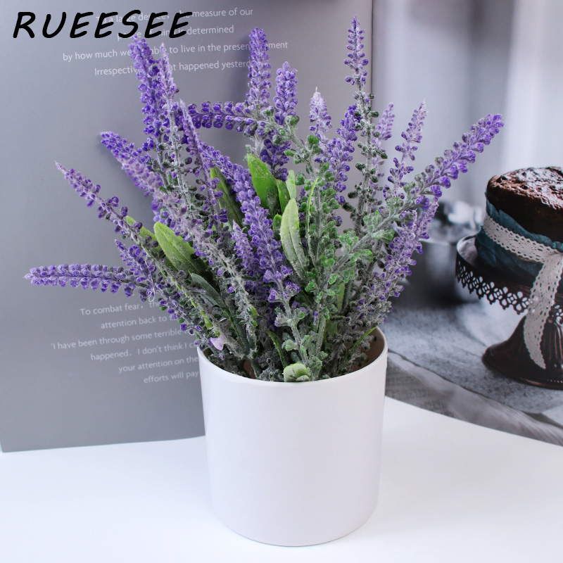 Artificial green plants lavender small potted flowers indoor and outdoor home living room desktop floral landscaping decoration