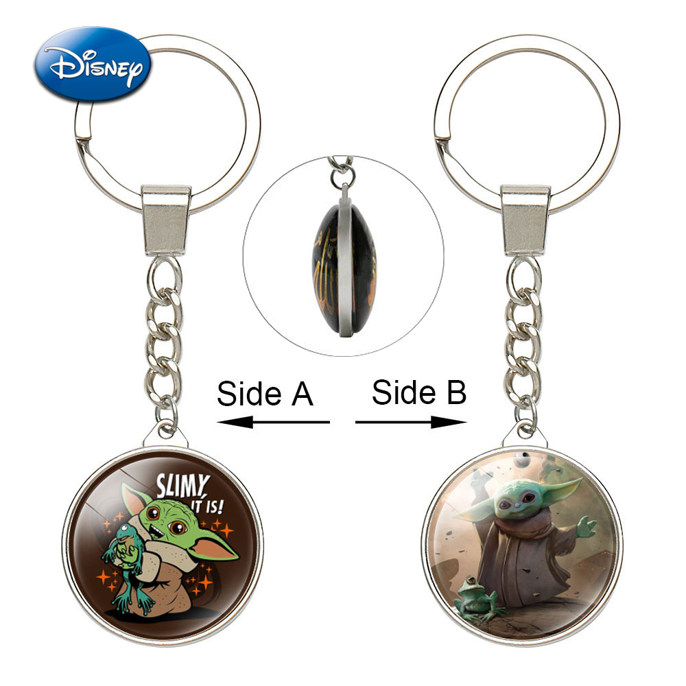 One Piece Kawaii Baby Yoda Reversible Keychains Mandalorian Series Double Side Glass Accessories KeyChain Toys Adult Kids Gifts