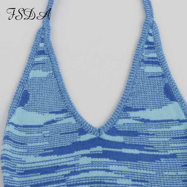 FSDA 2021 V Neck Knitted Dress Bodycon Blue Women Halter Neck Backless Bandage Summer Beach Sleeveless Sexy Mini Dresses Y2K 6
