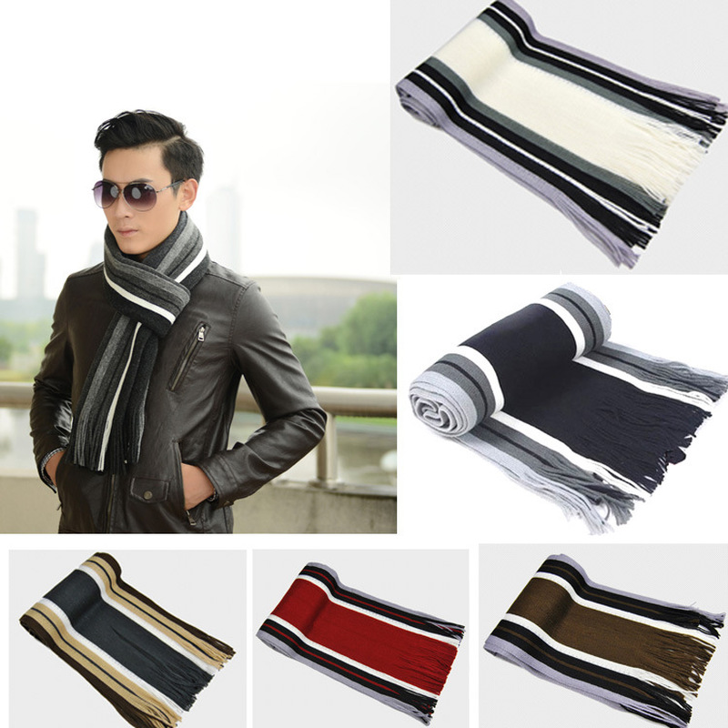 Designer Scarf Tassel Cashmere Knit Brand Shawl Winter Wrap Striped Male Men with 180--23cm title=
