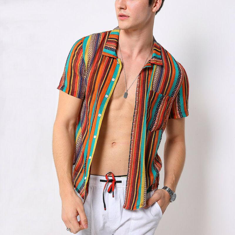 Men Shirts Summer Street Wear Stand Collar Yellow Green Striped Print Short Sleeve Shirts Hawaiian Shirt Plus Size Blouses Tops