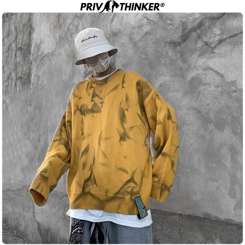 Privathinker Men O-Neck Streetwear Hip Hop Sweaters Mens 2020 Autumn Winter Korean Pullovers Loose Male Tie Dyeing Print Sweater