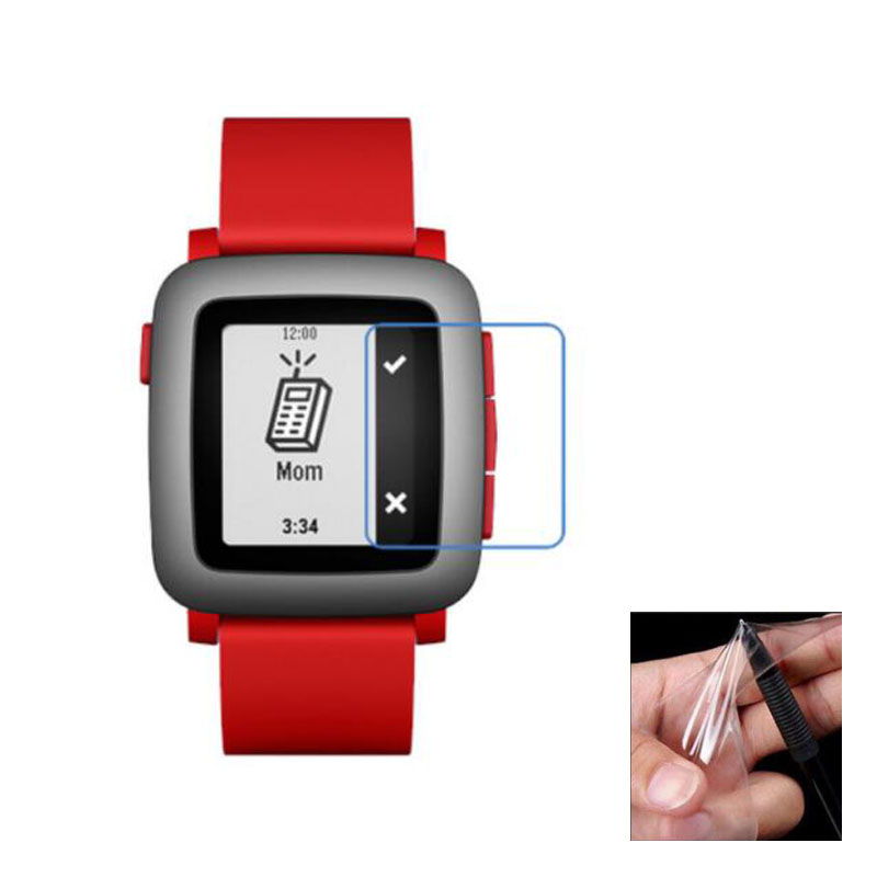 2pcs Anti-shock Soft TPU Ultra Clear Protective Film Guard For Pebble Time Smart Watch Full Screen Protector Cover (Not Glass)