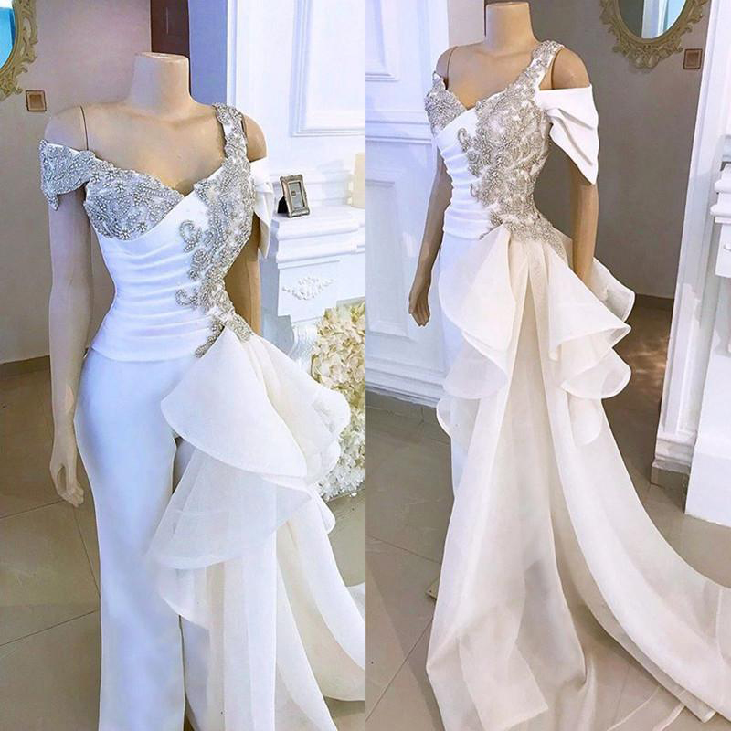 White Wedding Jumpsuit With Crystal Detachable Side Peplum Tail 2020 Off Shoulder Mermaid Bridal Gowns