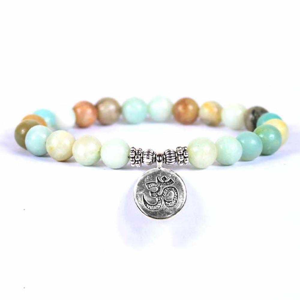Tybetański posąg buddy lotosu wisiorki bransoletki z koralików kamiennych bransoletki biżuteria akcesoria prezenty dla kobiet mężczyzn joga bransoletki 8 MM
