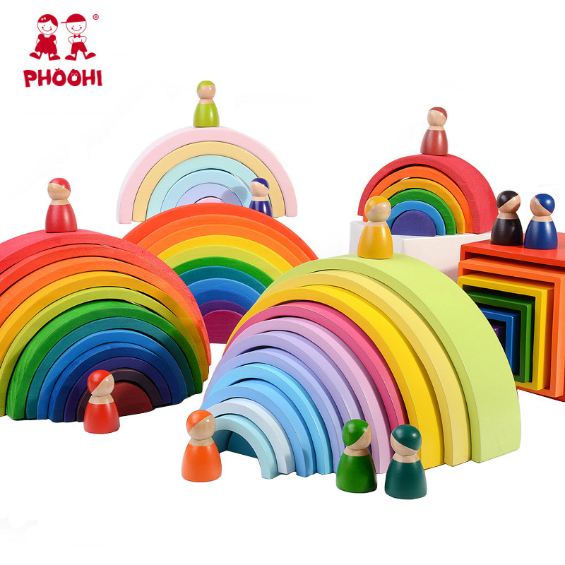 Wooden Rainbow Blocks Wooden Stacking Toys Grimms Rainbow Wood Building Blocks Colorful Rainbow Children Kids Educational Toy