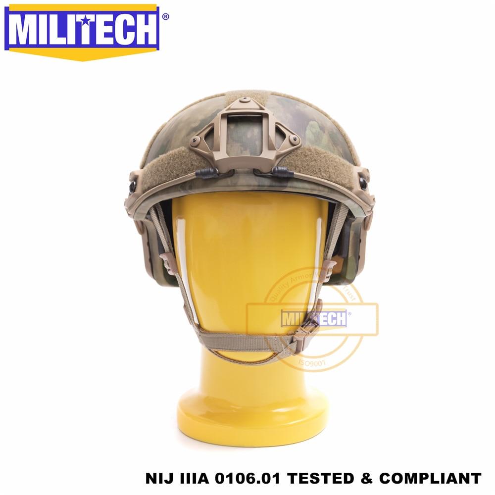 ISO Certified MILITECH Atacs FG Deluxe Worm Dial NIJ level IIIA 3A FAST High Cut Ballistic Aramid Helmet With 5 Years Warranty