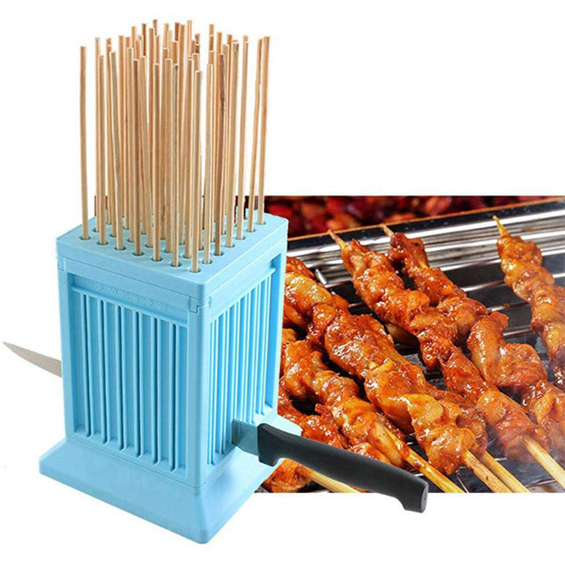 Wear Meat String Machine 49 Holes BBQ meat skewer tools tofu Skewer Kebab Maker Box Machine Grill Barbecue Kitchen Accessories 1