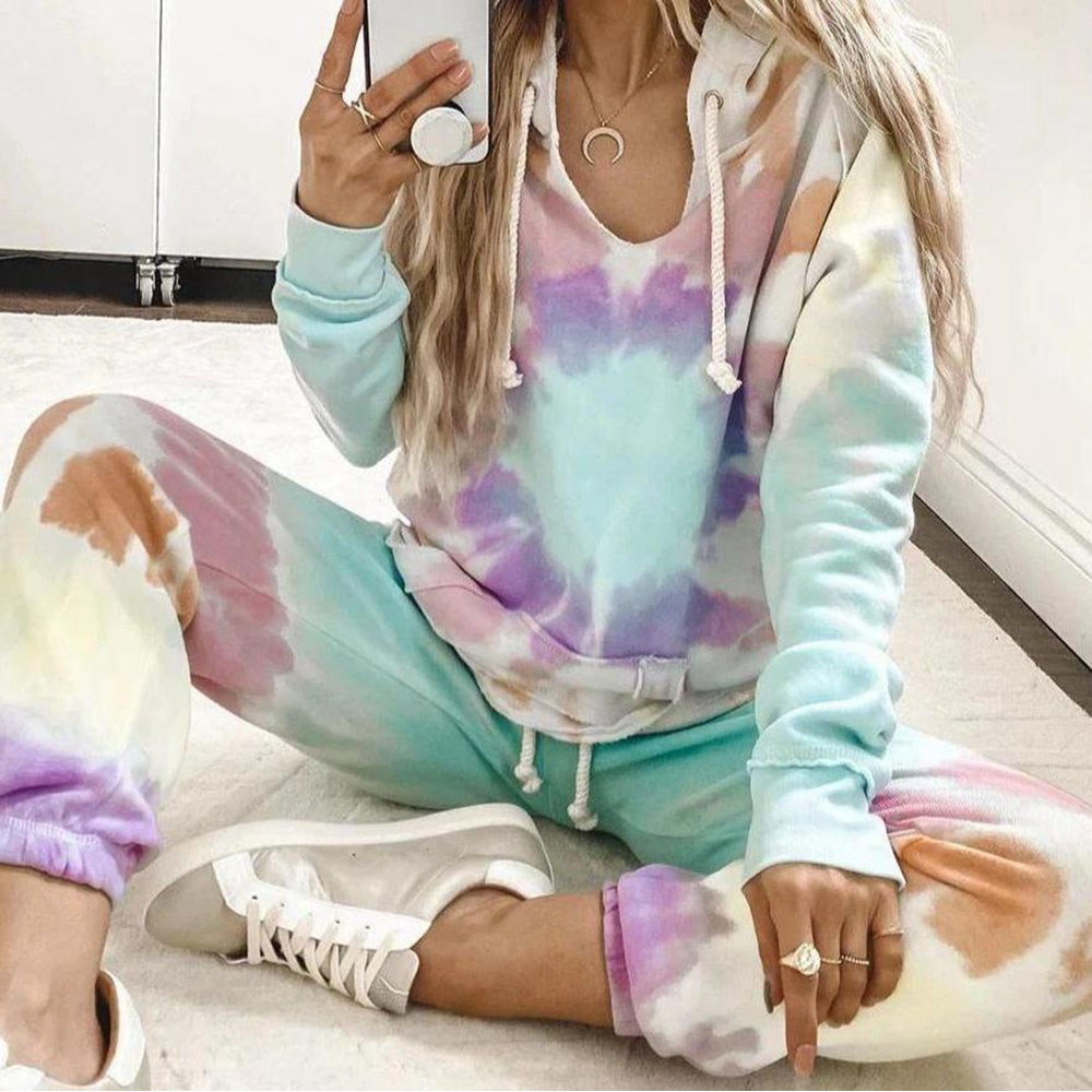 STYLISH LADY Tie Dye Printed Lounge Wear 2 Piece Set Women Long Sleeve Hooded Sweat Top And Long Pant Set 2020 Casual Home Cloth
