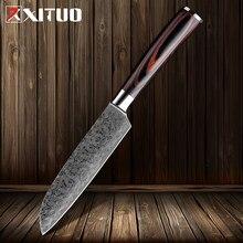 XITUO-cuchillo de cocina de acero japonés de imitación de Damasco, herramienta de cocina de 5 pulgadas, Santoku
