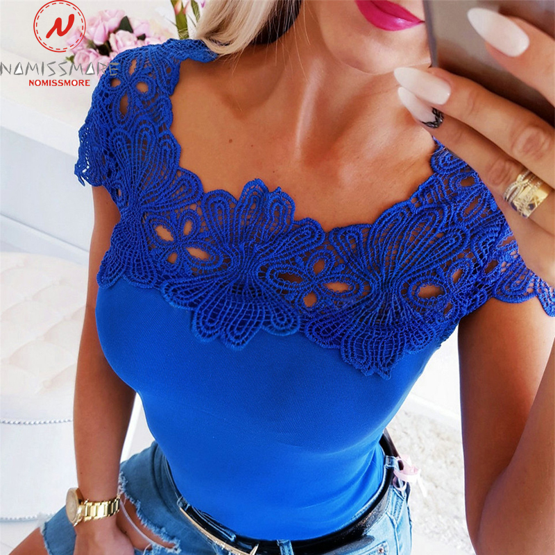 Women Summer T-Shirt Hollow Out Design Ladies T-Shirt Lace Deocr O-Neck Short Sleeve Solid Color Top Fashion Slim Fit Clothes