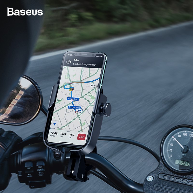 Baseus Motorcycle Phone Holder Bike Bicycle Mobile Phone Stand For IPhone Samsung Support Moto Motorbike Mount Cell Phone Holder