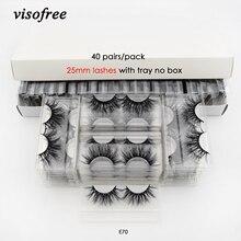 Visofree 40 пар/упак. 3D норковые ресницы с лотком без коробки 25 мм ресницы накладные ресницы норки накладные макияж ресниц ресницы E70