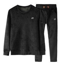 Gold Velvet Tracksuit Men 2019 Autumn Winter Fashion Mens Plus Size Long Sleeve Hoodies Sweatshirt+Pants Casual 2 Piece Set