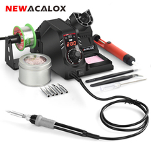 NEWACALOX 130W 110V / 220V Temperature Control Soldering Station LCD Electric Iron Welding Repair Kit Tool  Desoldering Pump